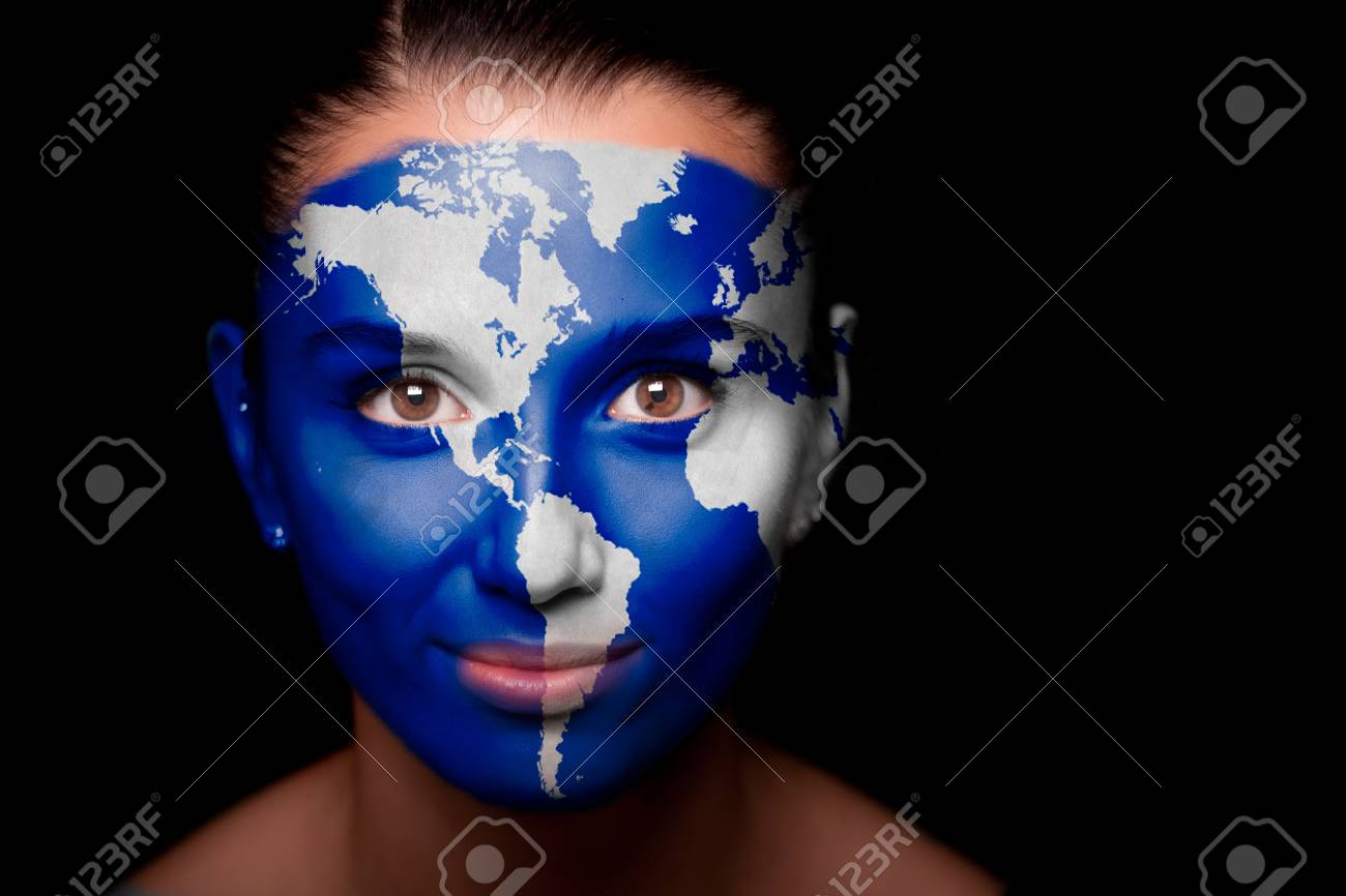 Girl with a painted map of North and South America Stock Photo - 11318128