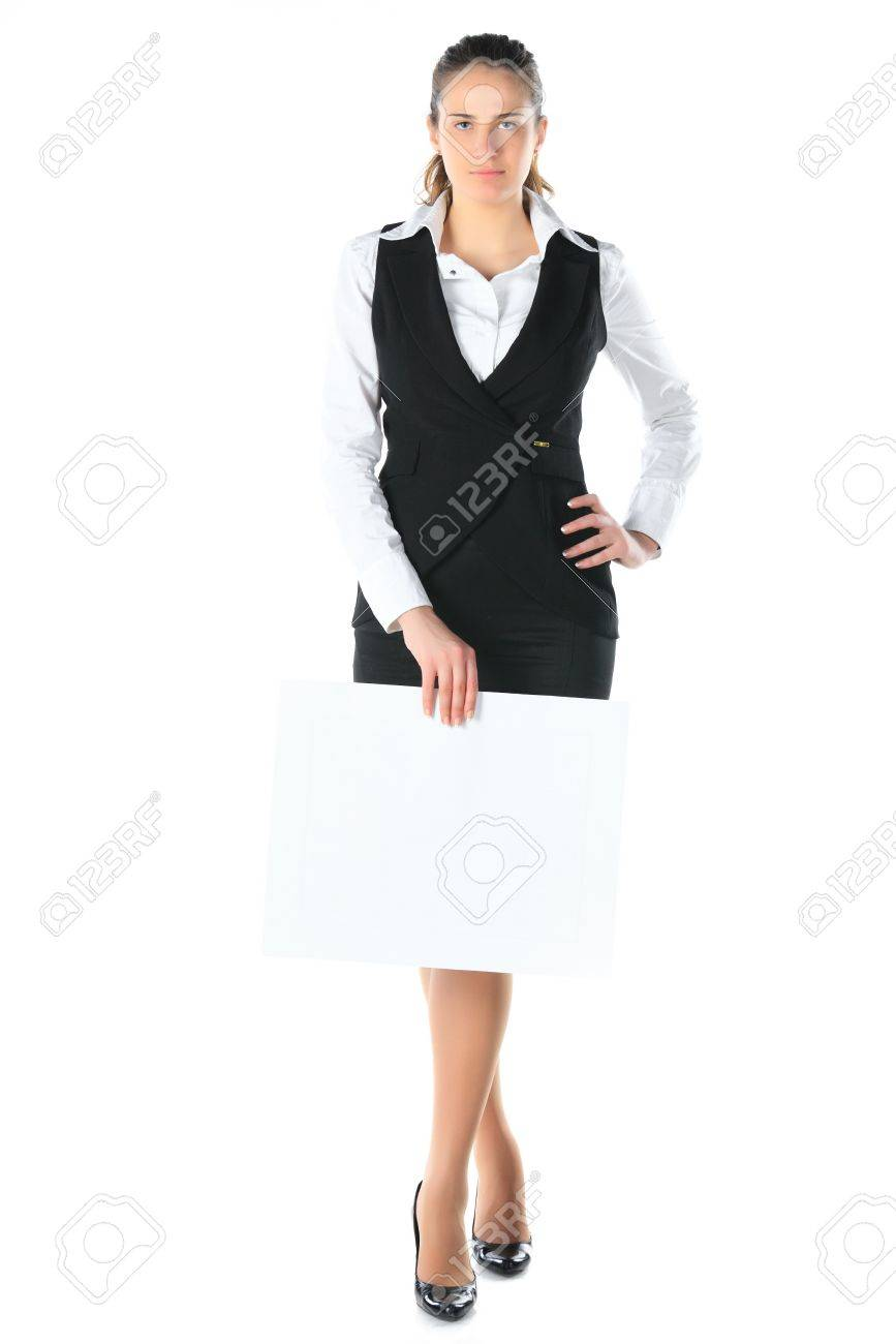 woman and a clean sheet in her hands Stock Photo - 11889387