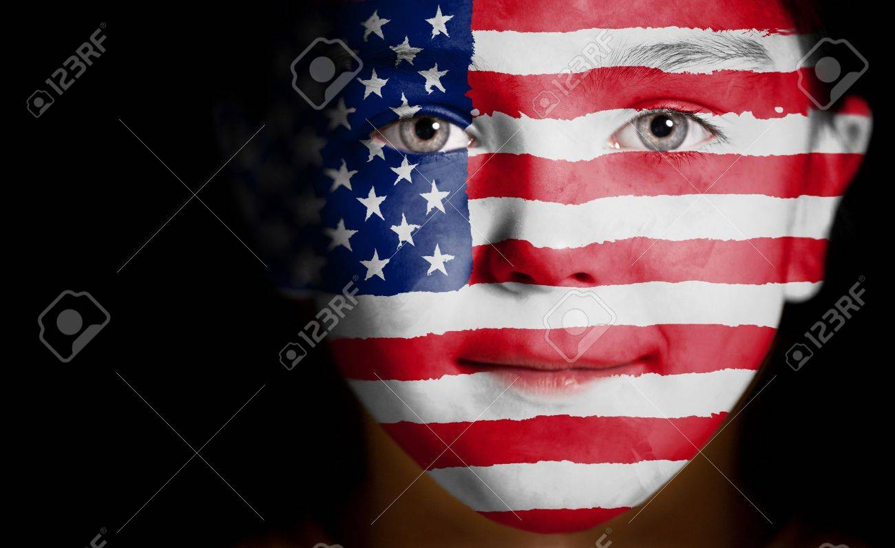 Child face painted with the flag of USA. Stock Photo - 12407102
