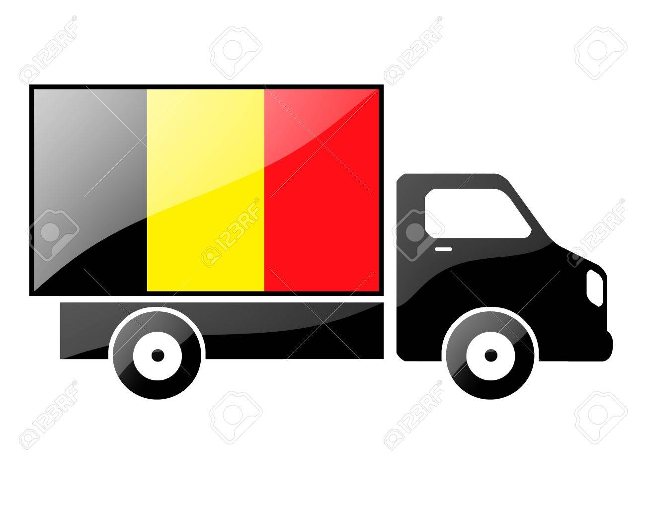 The Belgian flag painted on the silhouette of a truck. glossy illustration Stock Photo - 15435367