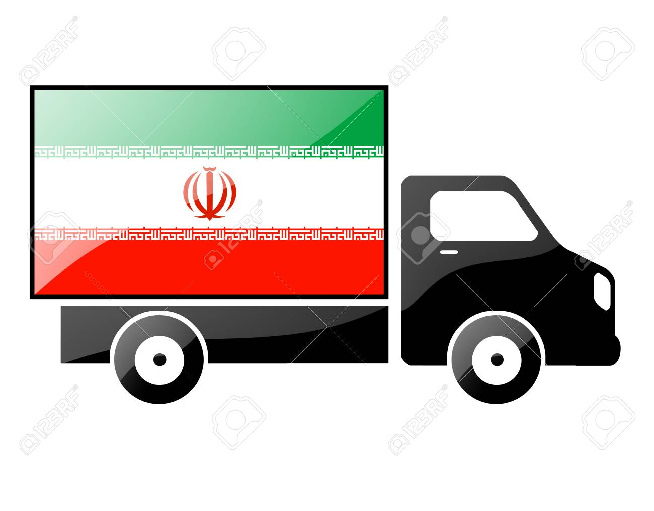 The Iranian flag painted on the silhouette of a truck. glossy illustration Stock Photo - 15435943