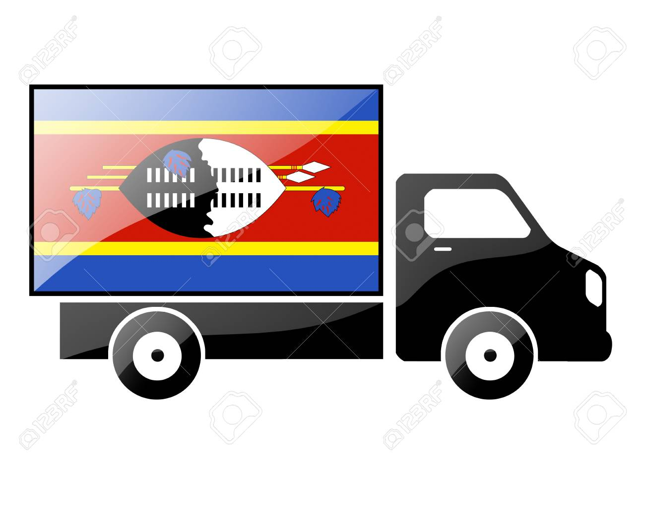 The Swaziland flag painted on the silhouette of a truck. glossy illustration Stock Photo - 15436145