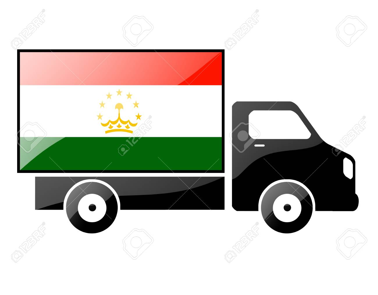 The Tajik flag painted on the silhouette of a truck. glossy illustration Stock Illustration - 15435354
