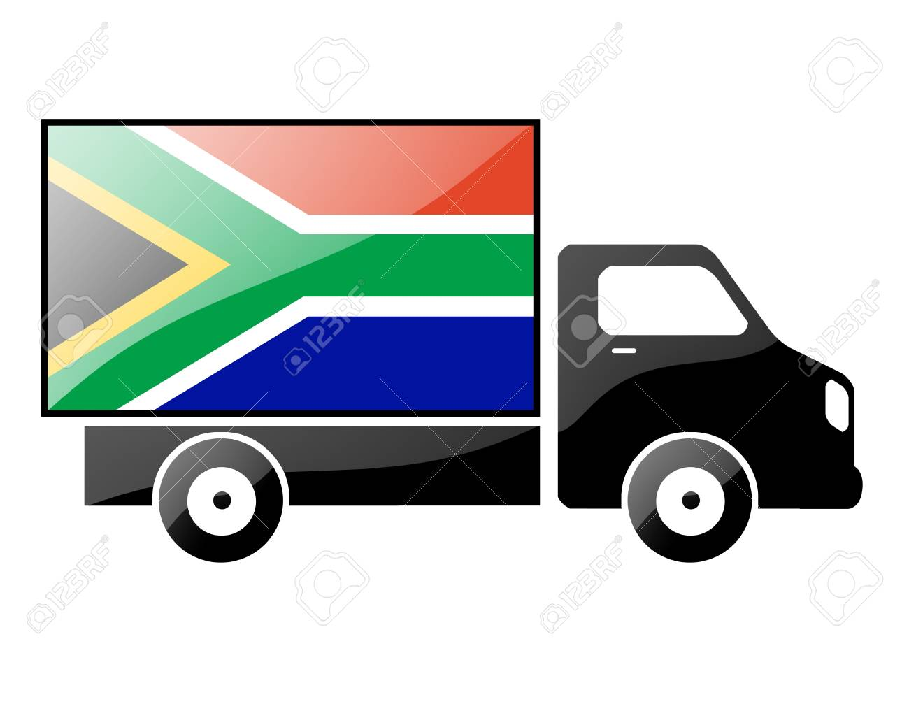 The South African Republic flag painted on the silhouette of a truck. glossy illustration Stock Illustration - 15435607