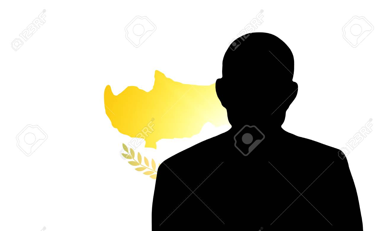 The Cypriot flag and the silhouette of an unknown man Stock Photo - 15943331