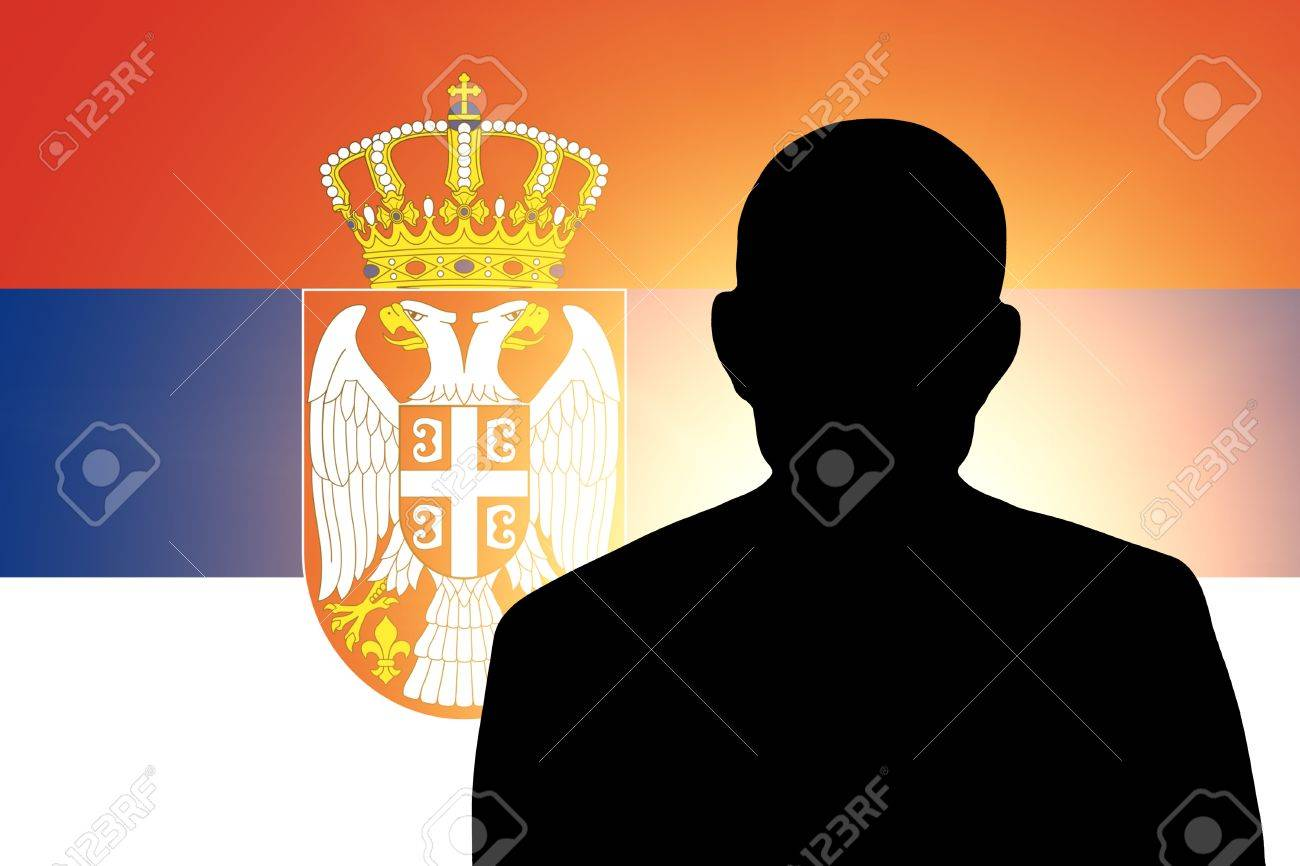 The Serbian flag and the silhouette of an unknown man and the silhouette of an unknown man Stock Photo - 15943520