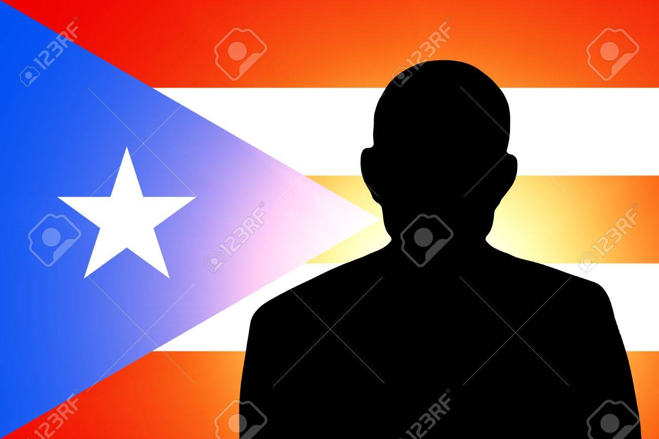 The Puerto Rico flag and the silhouette of an unknown man and the silhouette of an unknown man Stock Photo - 15943405