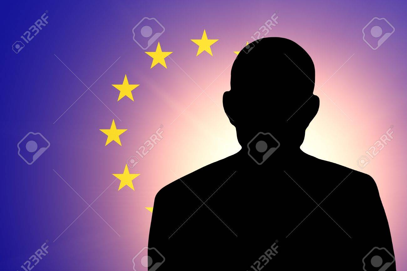 The European Union Flag and the silhouette of an unknown man and the silhouette of an unknown man Stock Photo - 15943530