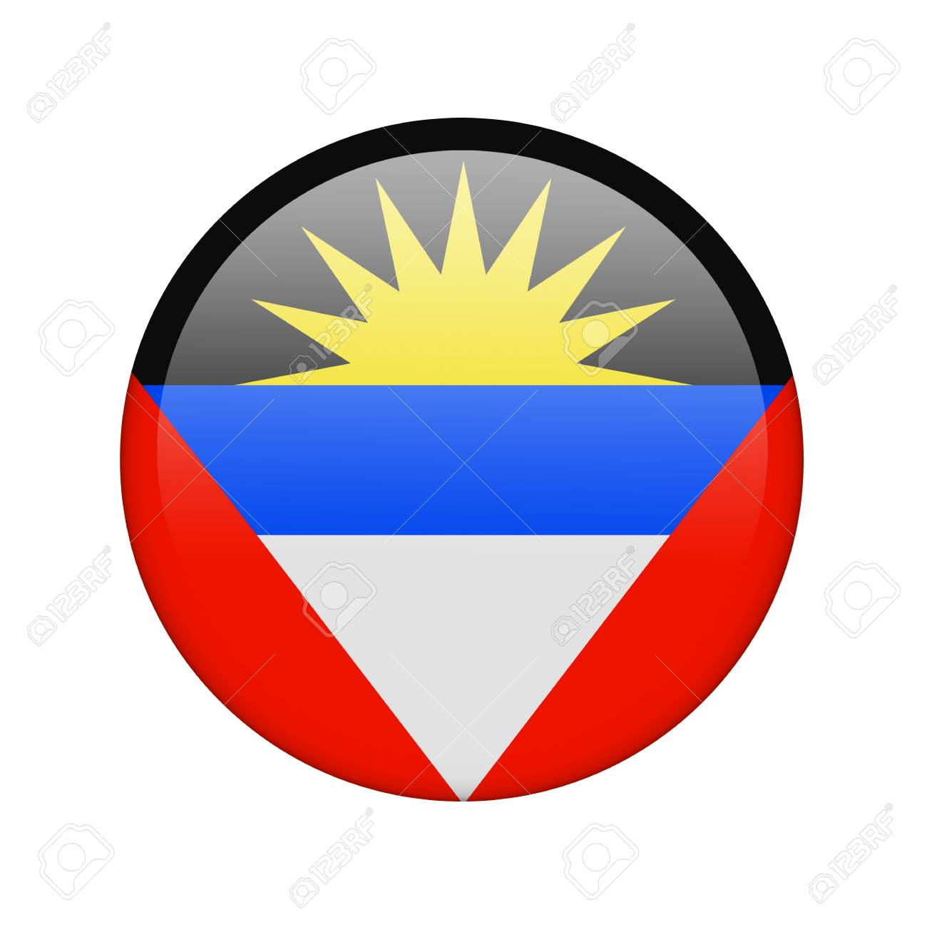 The Antigua and Barbuda flag in the form of a glossy icon. Stock Photo - 16760693
