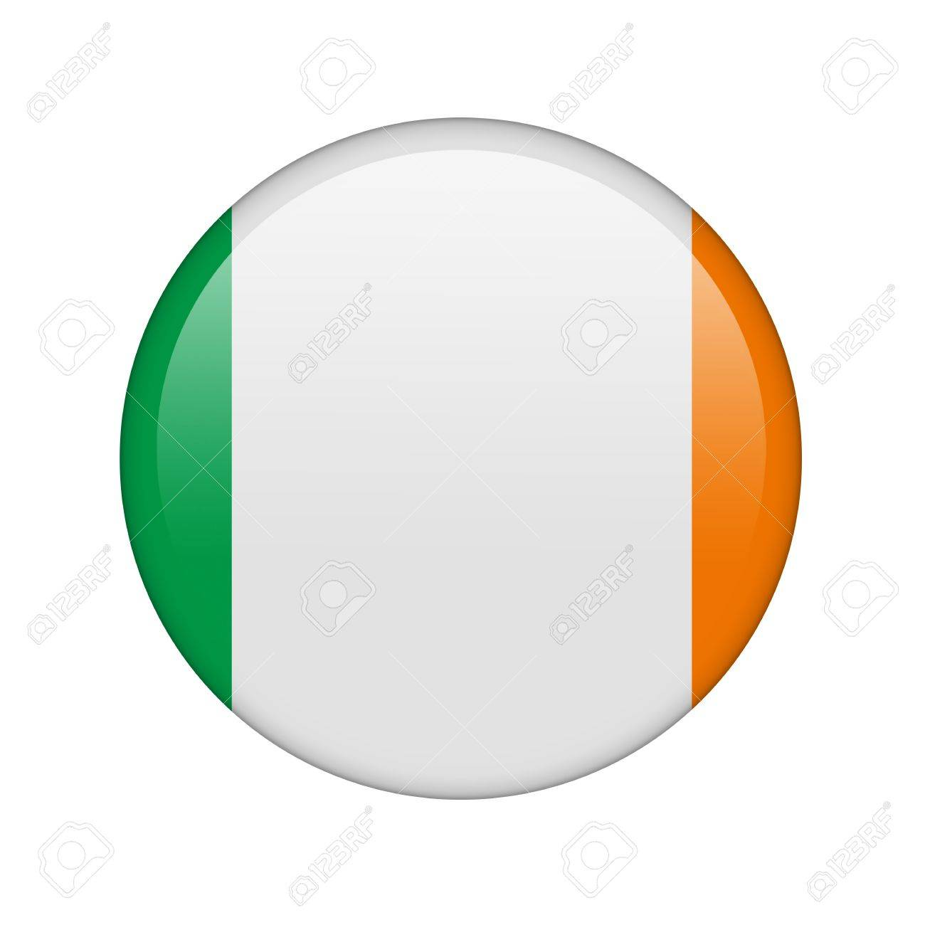 The irish flag in the form of a glossy icon. Stock Photo - 16760612