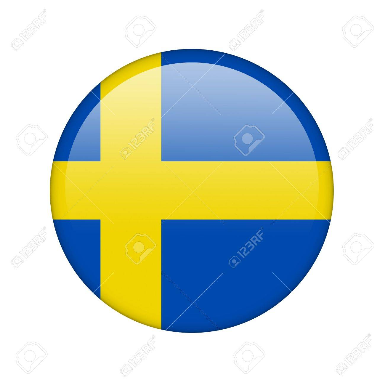 The Swedish flag in the form of a glossy icon. Stock Photo - 16760682