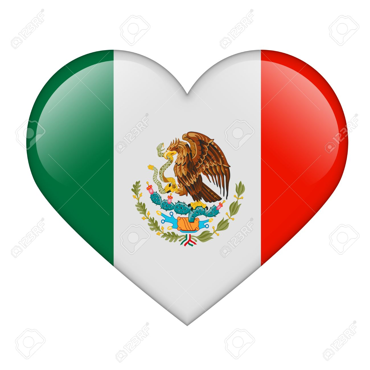 The Mexican flag in the form of a glossy heart Stock Photo - 17476758
