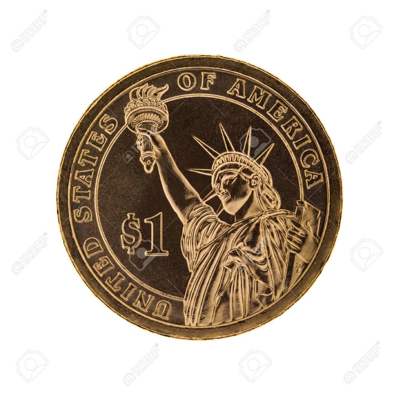 Einem Dollar Münze Freiheitsstatue Isoliert Auf Weißem