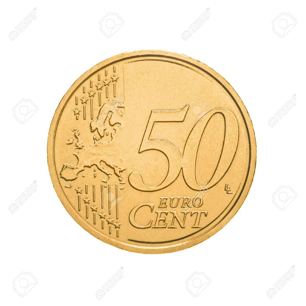 50 Cent Münze Auf Weißem Hintergrund Lizenzfreie Fotos Bilder Und
