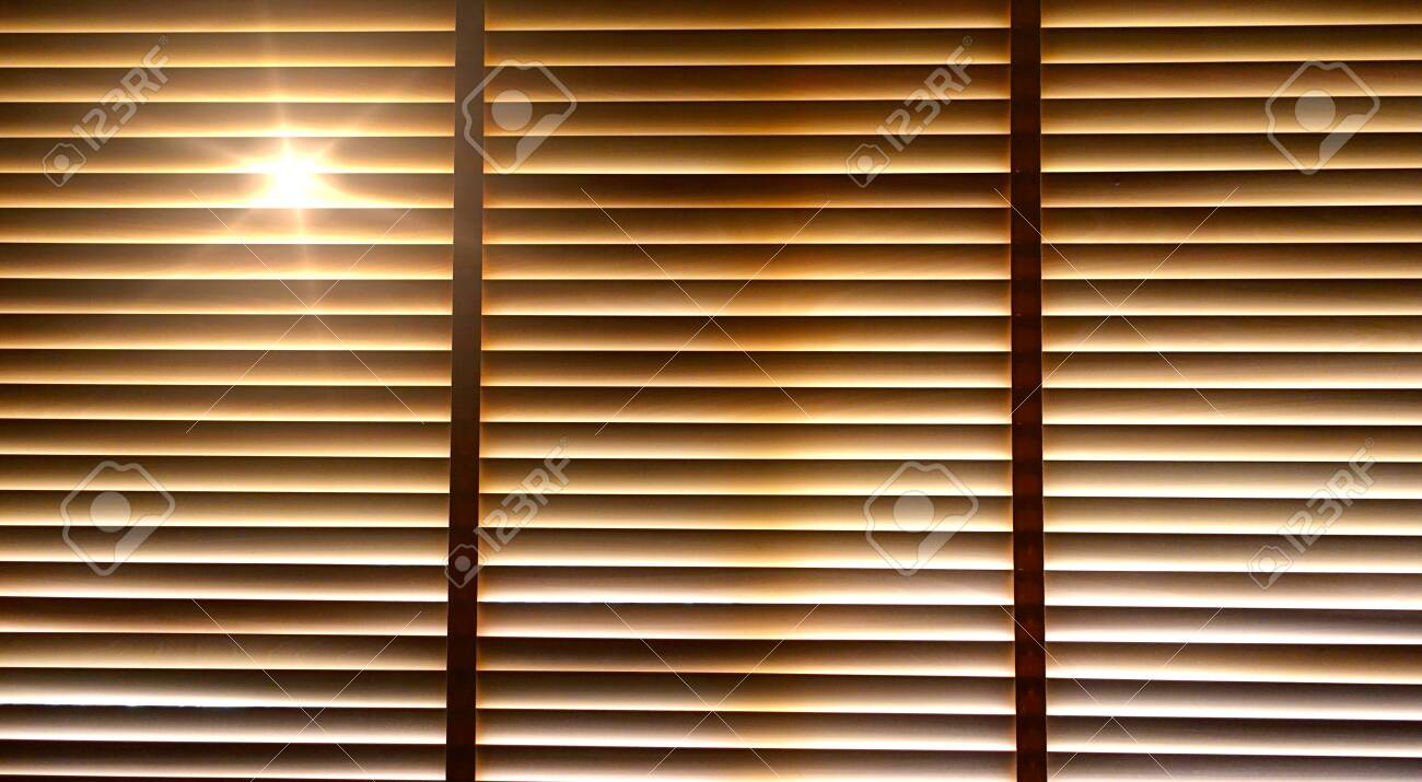 Evening Sun Light Outside Wooden Window Blinds Sunshine And Stock Photo Picture And Royalty Free Image Image 121332774