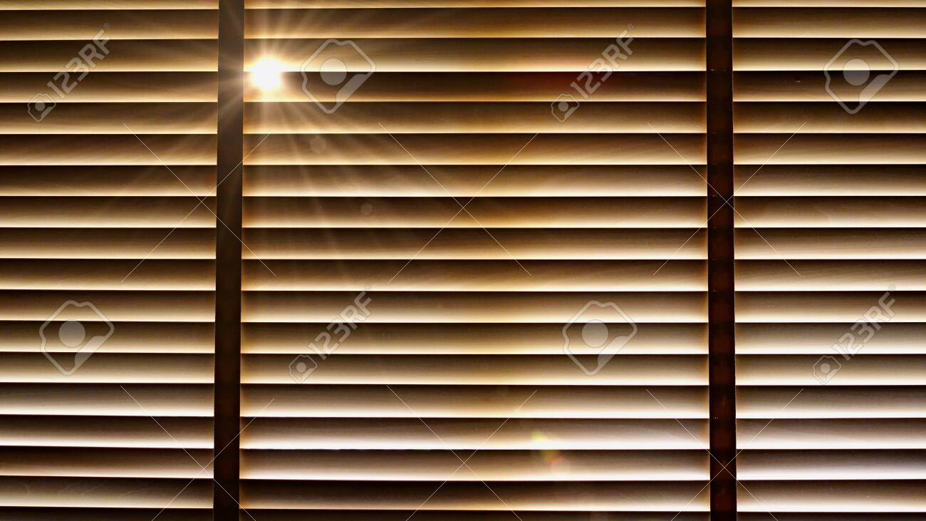 Evening Sun Light Outside Wooden Window Blinds Sunshine And Stock Photo Picture And Royalty Free Image Image 121332772
