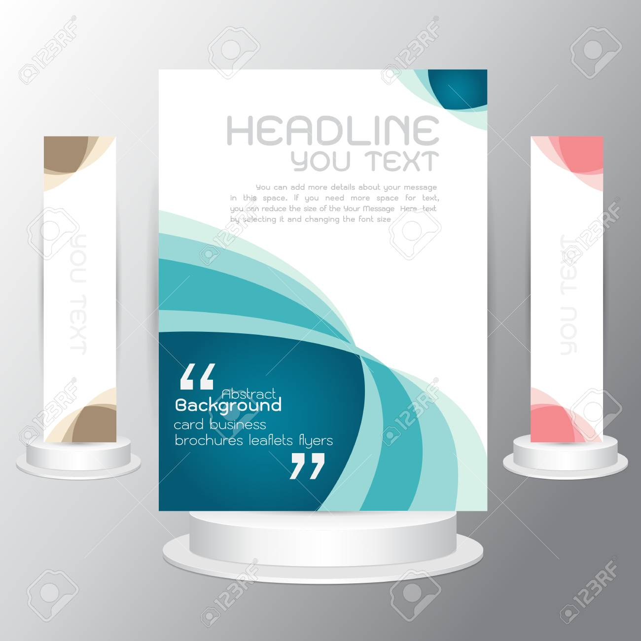 Vector Tri Fold Business Brochure Blue Template Flyers Business ...