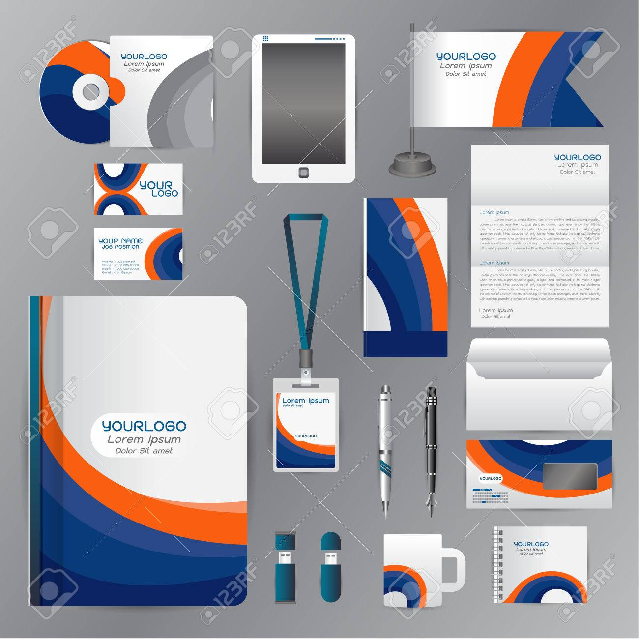 White Corporate Identity Template With Blue Orange Origami Elements ...