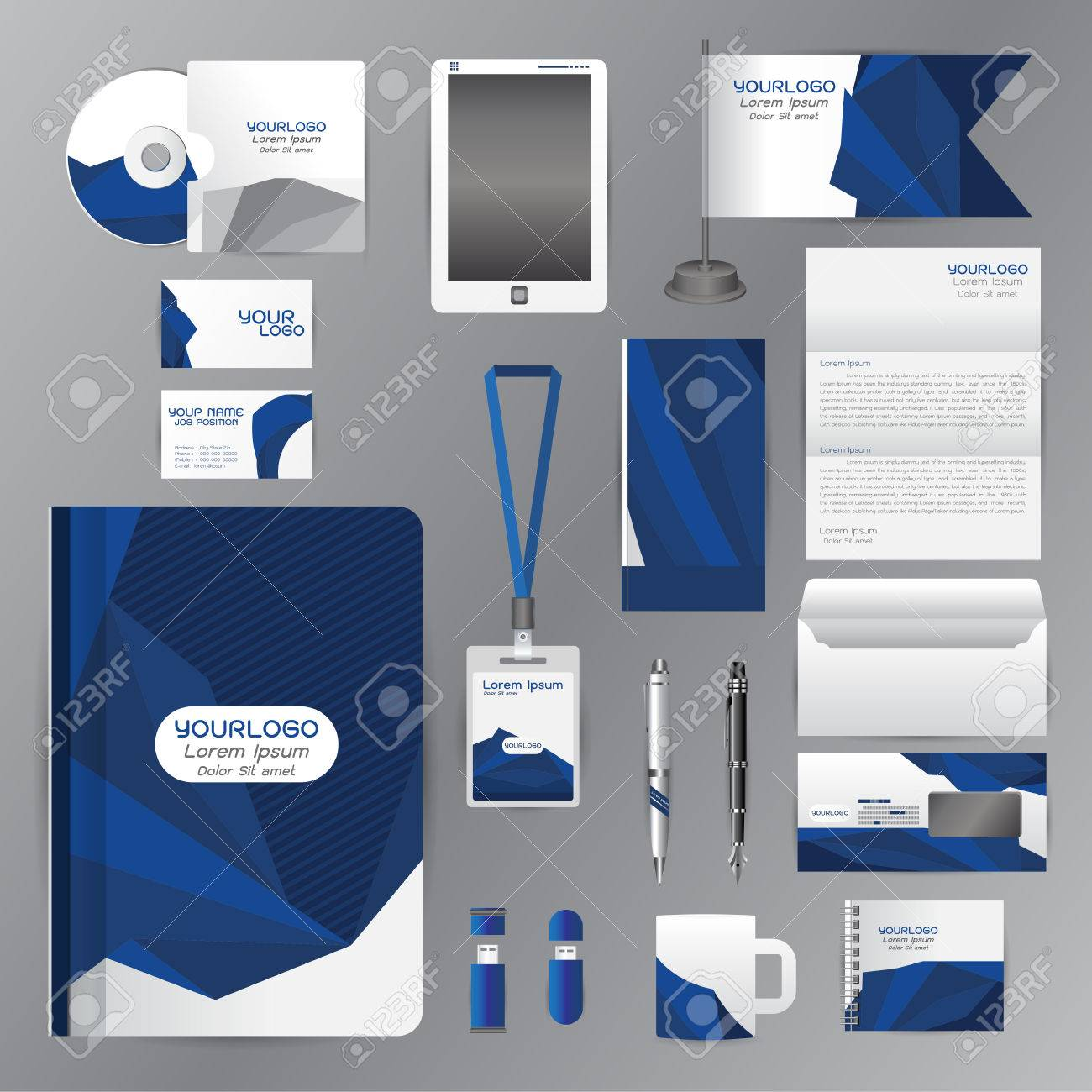 White Identity Template With Blue Origami Elements. Vector Company ...