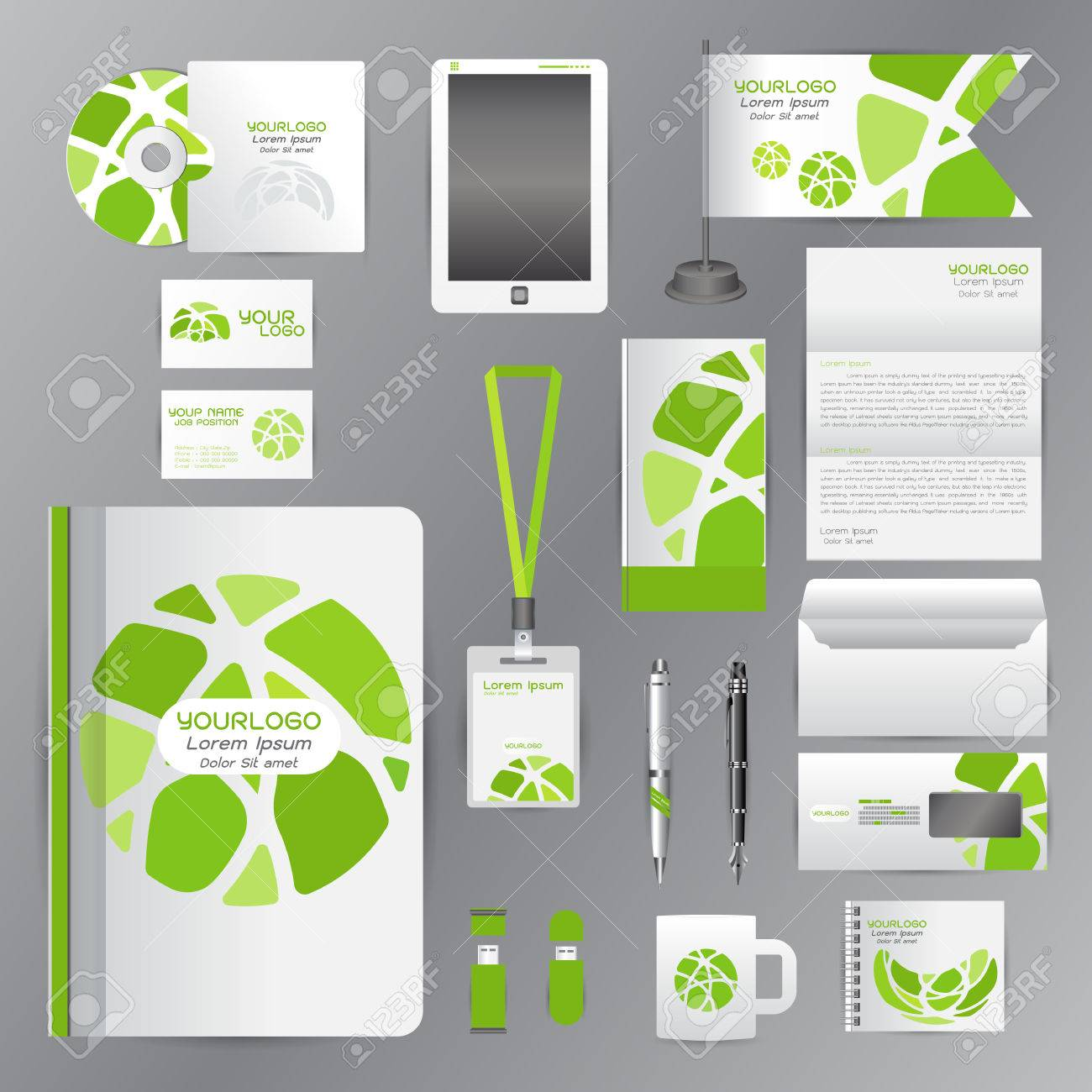 White Identity Template With Green Circle Origami ElementsVector ...