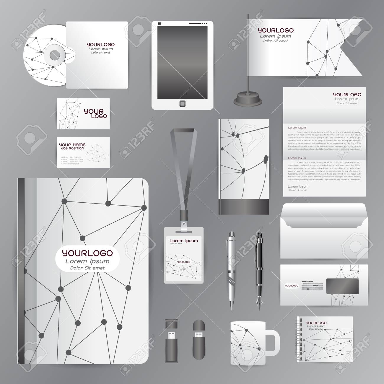 Weiß-Identity-Vorlage Mit Grauem Origami ElementsVector Firma Stil ...