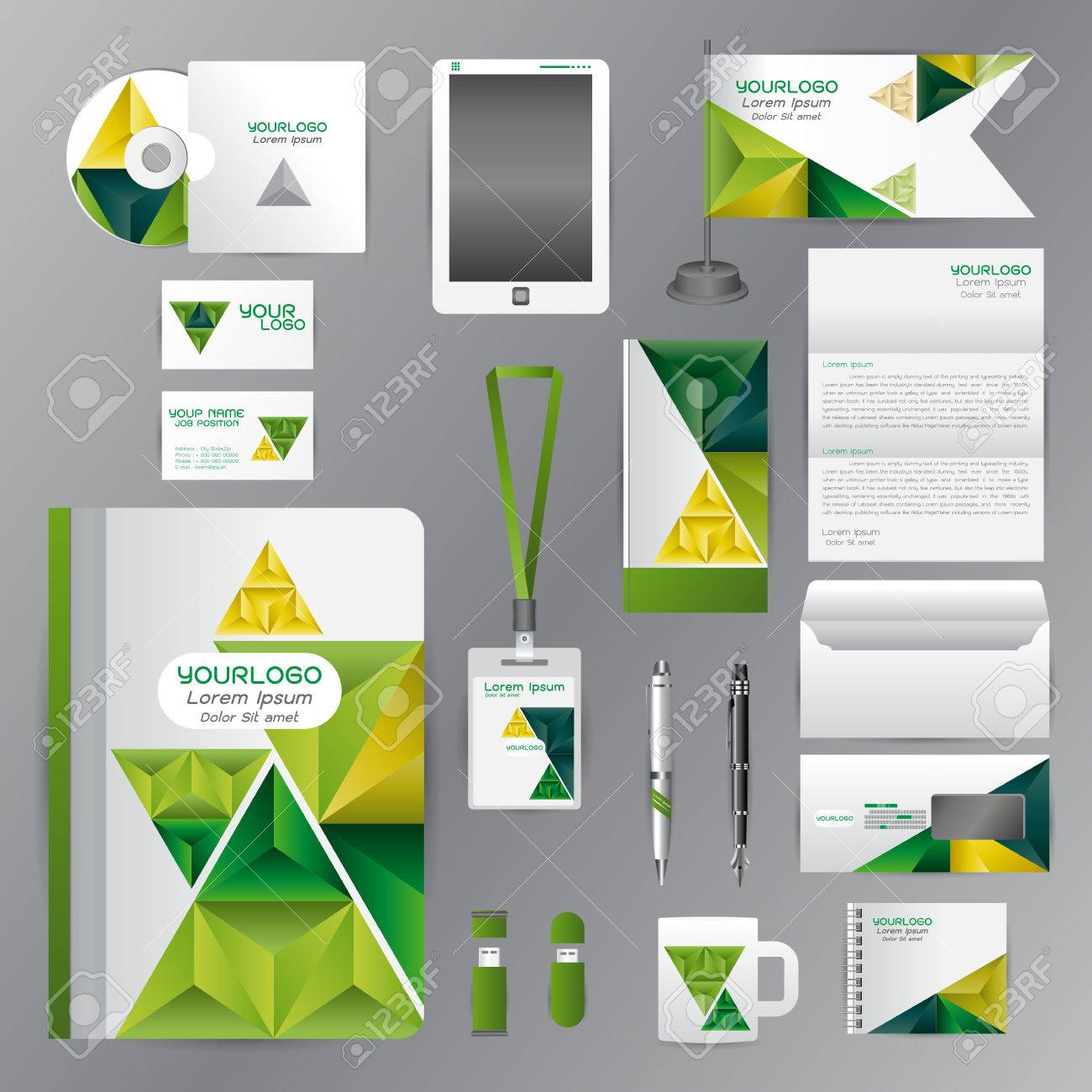 Modele Didentite Blanc Avec Triangle Vert Elements DorigamiVector Societe Style Pour La Ligne De Bord Marque Et Stylos En Papier A Cafe Cartes