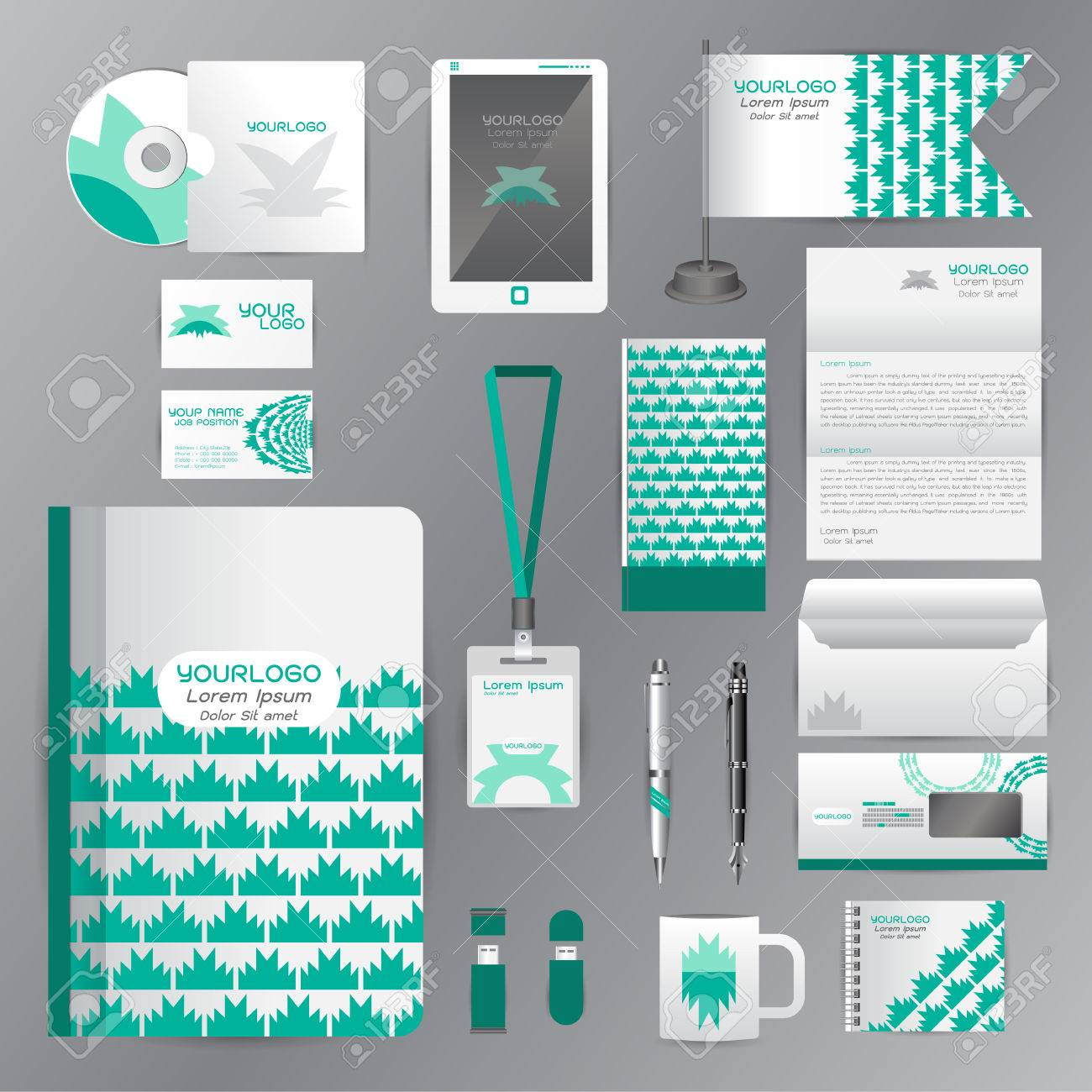 White Identity Template With Green Origami Elements. Vector Company ...