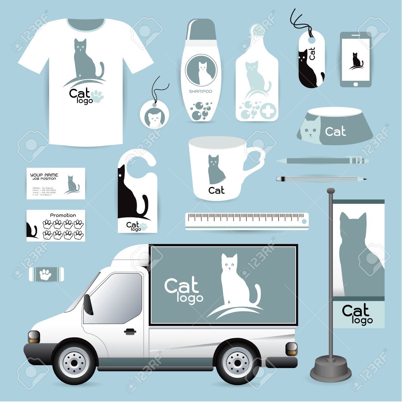 Lidentit Des Animaux De Conception Dentreprise Tiquettes Matriel Mdical Chat Animal Hospital Cartes Visite Gomme Les