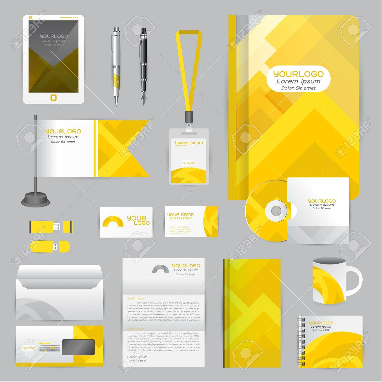 White Identity Template With Yellow Origami Elements. Company ...