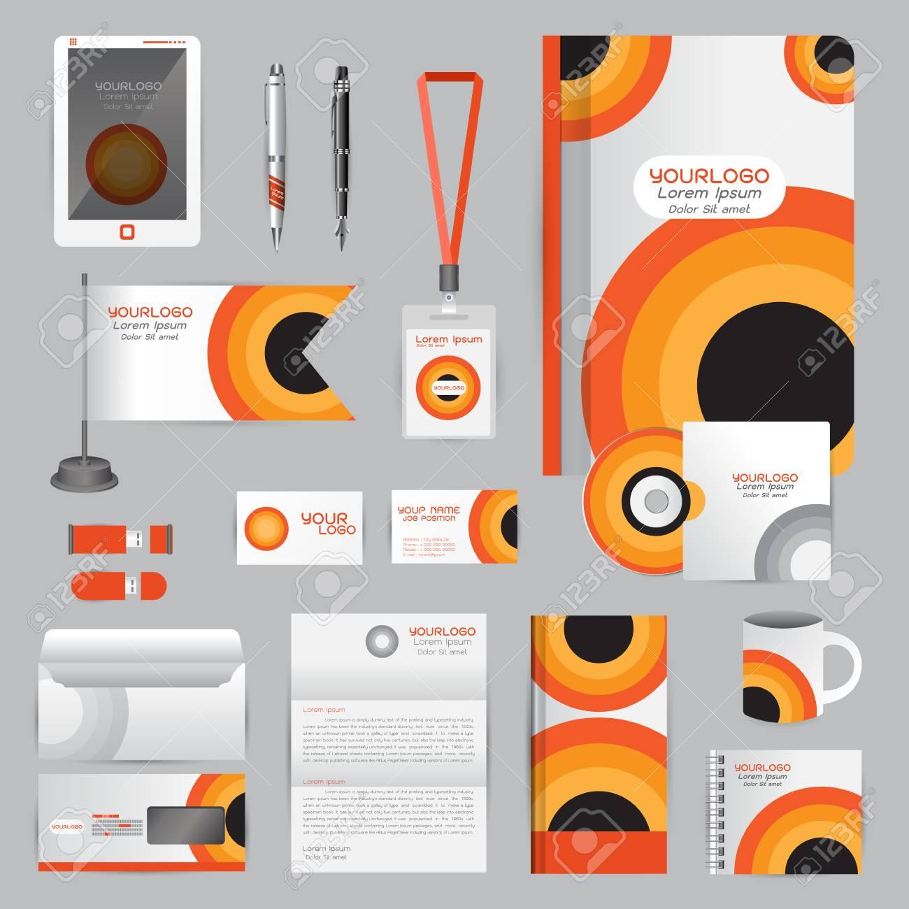 White Identity Template With Orange Origami Elements. Company ...