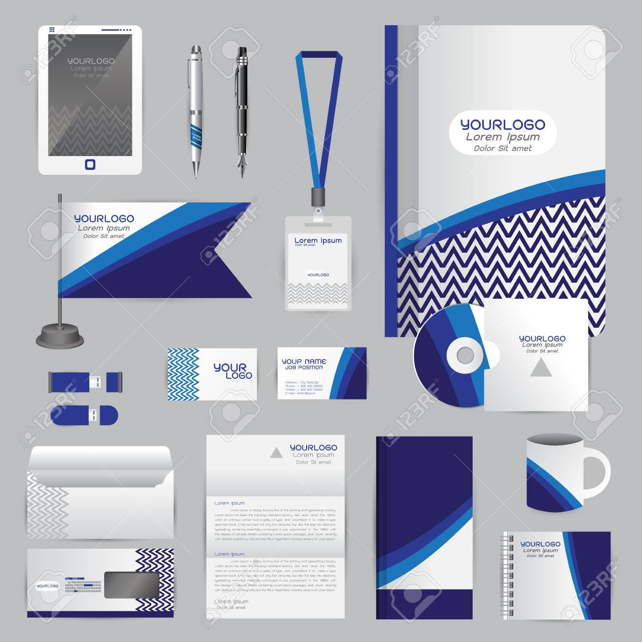 White Identity Template With Blue Origami Elements. Company Style ...