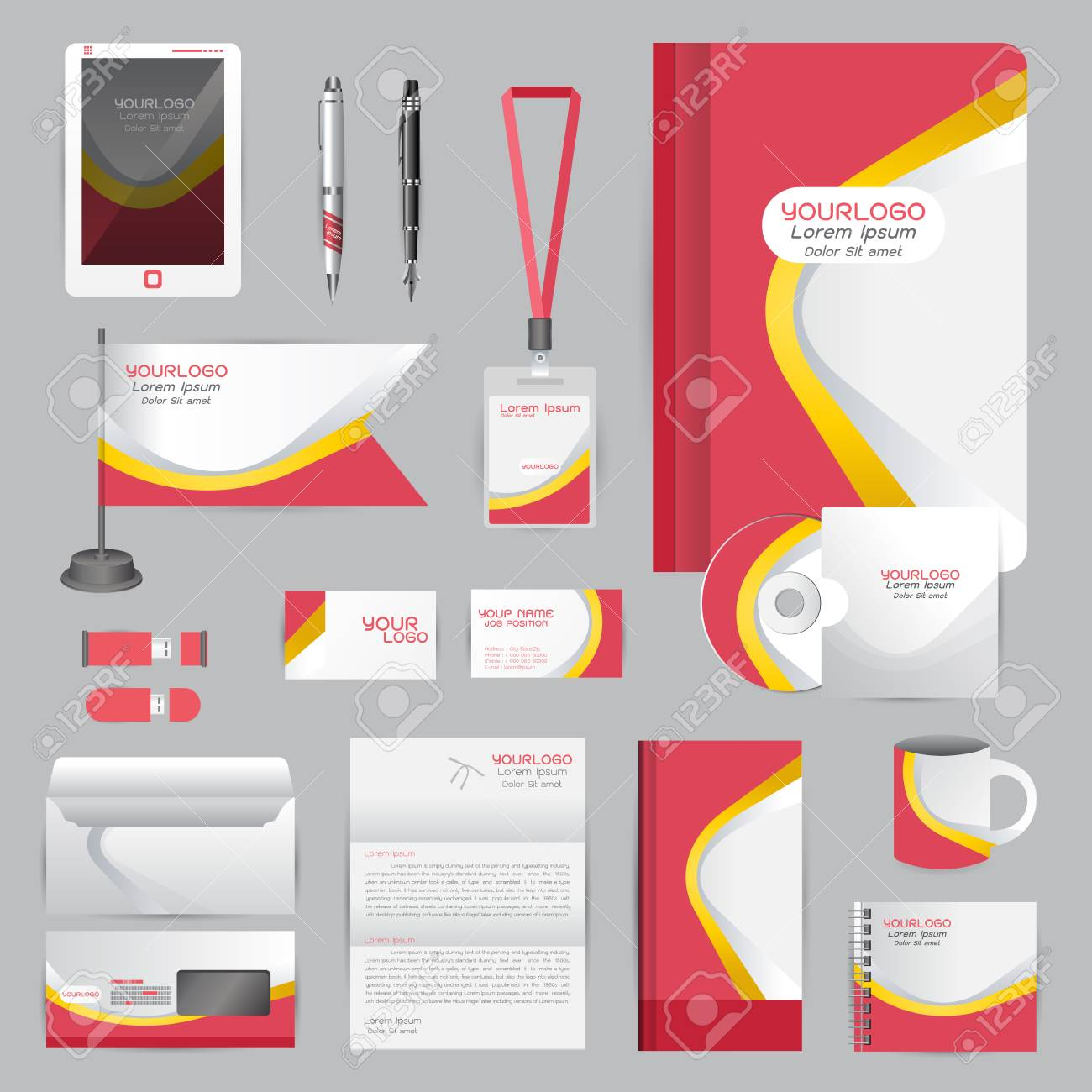 White Identity Template With Origami Elements. Vector Company ...