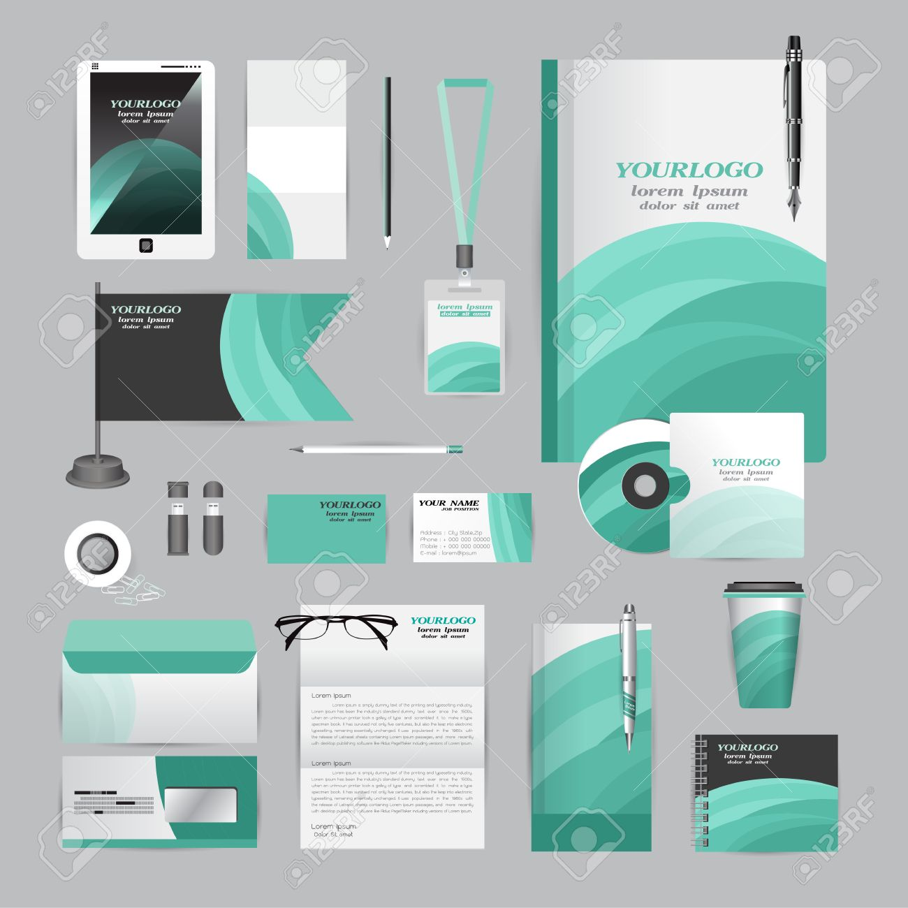 Vector Societe Style Pour BrandBook Ligne Directrice Et Stylos Tasses CD Livres Cartes De Visite A En Tete Drapeau Carte Portfolio Employes Lecteur Flash