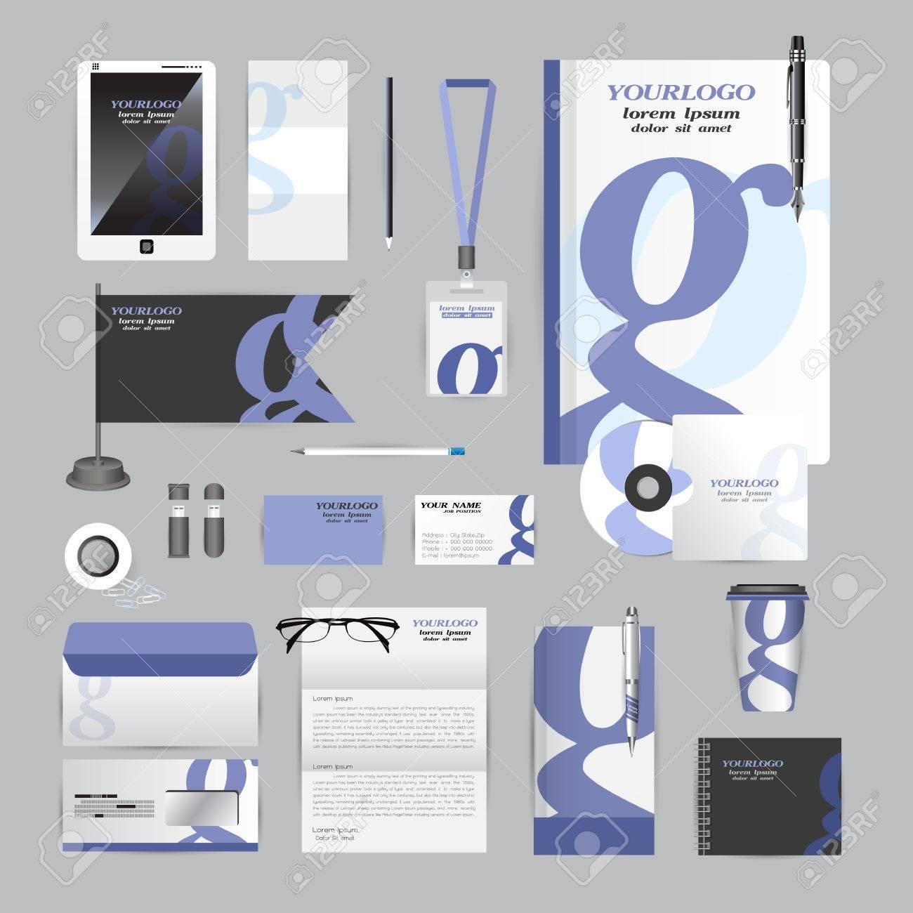 Weiß Corporate Identity Vorlage Mit Origami Elemente Orange. Vector ...