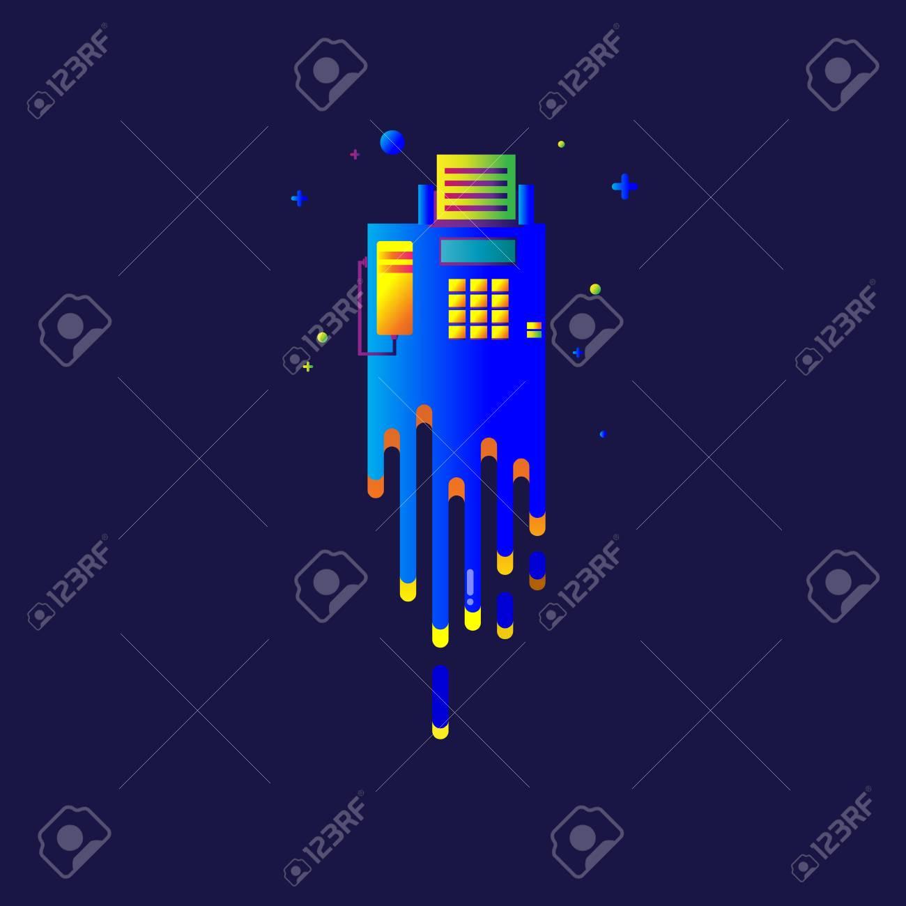 Vettoriale Icona Telefono Arcobaleno Bella Luce Colorata