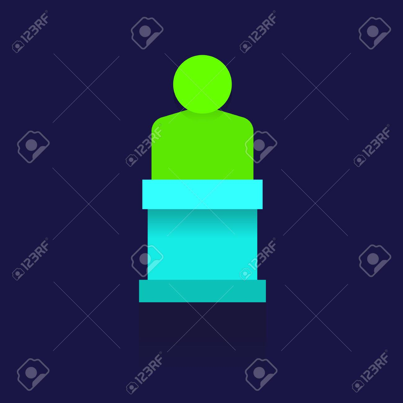 Icon Man In Circle Blue On Blue Background Logo Symbols Business