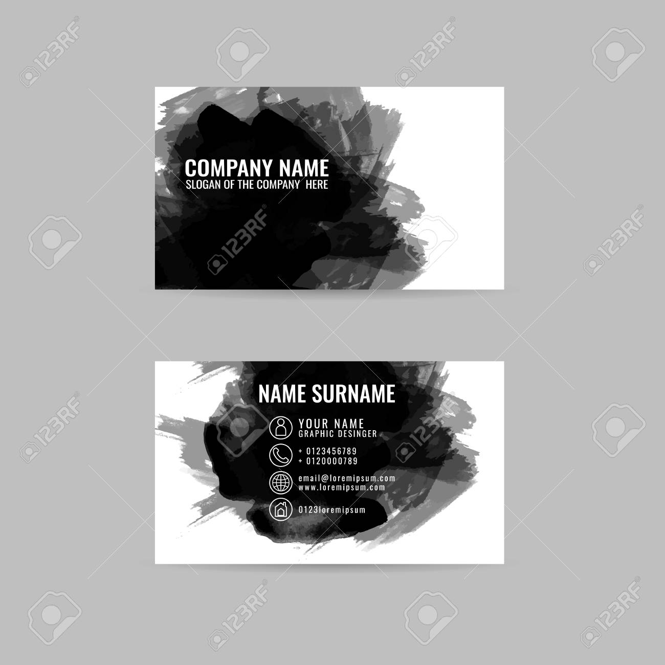 Business Cards Template With Hand Painted Brush Strokes Black Ink