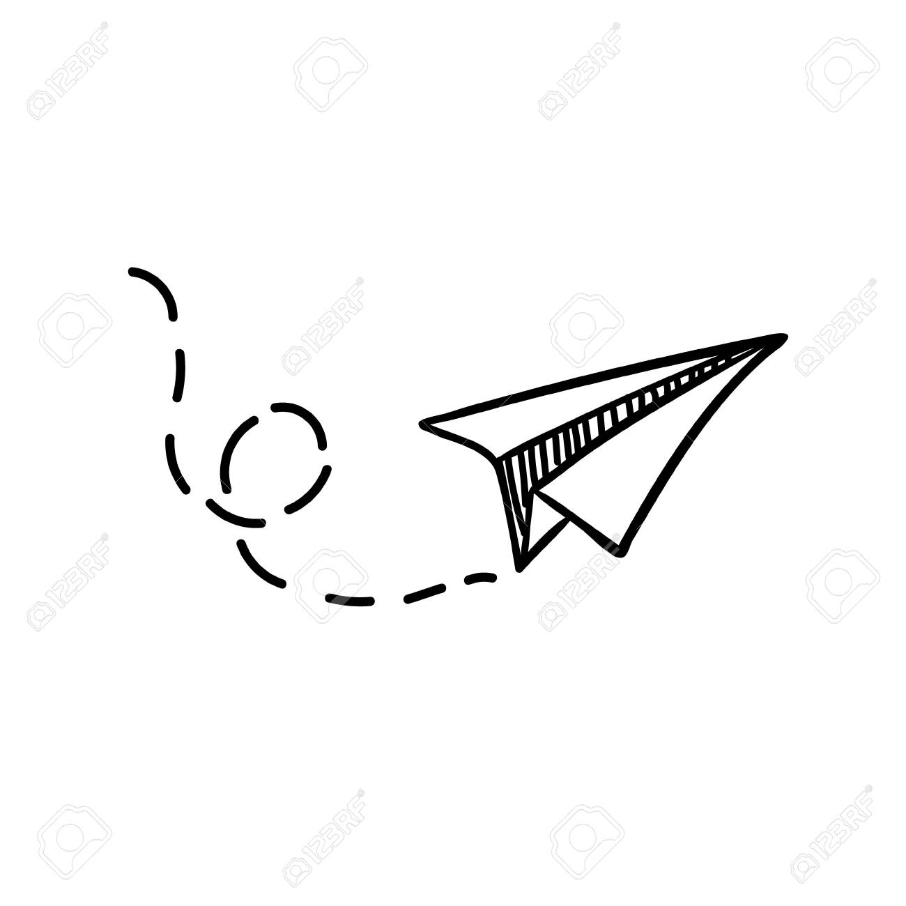Vector paper airplane. Travel, route symbol. Vector illustration of hand drawn paper plane. Isolated. Outline. Hand drawn doodle airplane. Black linear paper plane icon - 89965356
