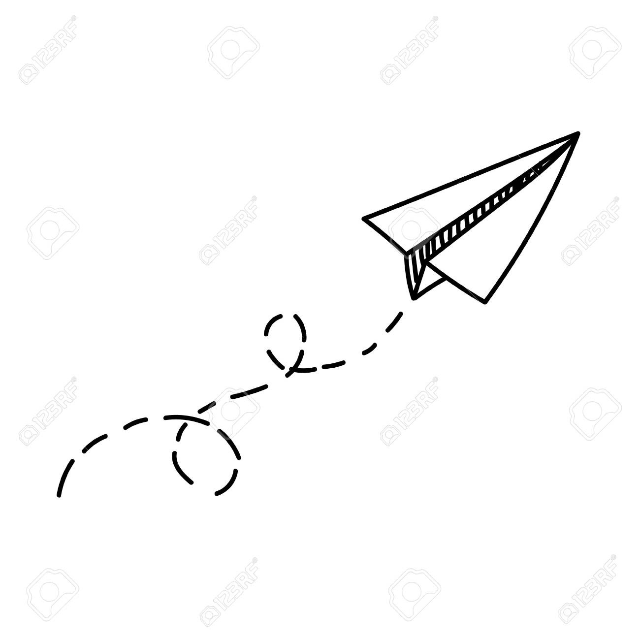 Vector Paper Airplane Travel Route Symbol Vector Illustration