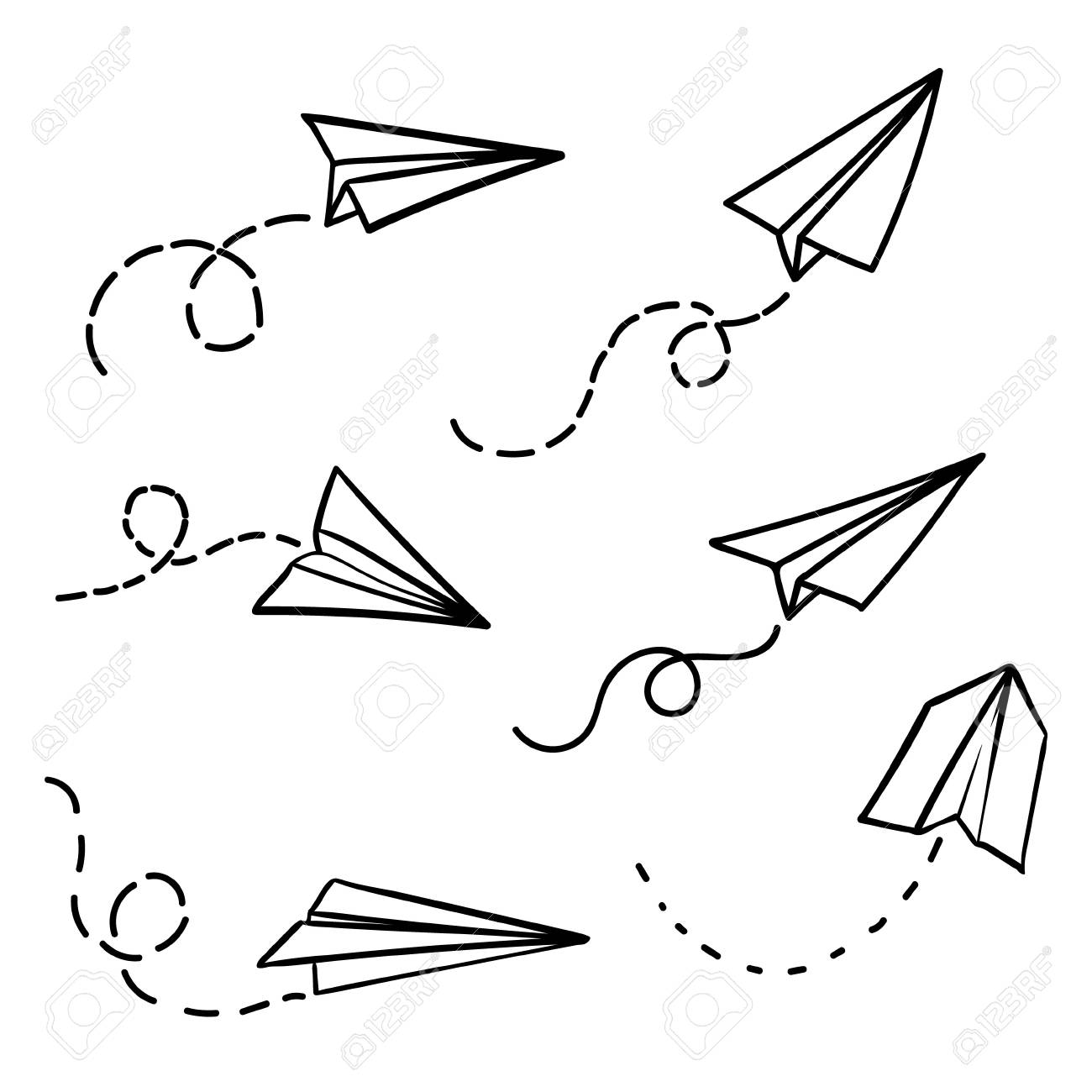 Vector paper airplane. Travel, route symbol. Set of vector illustration of hand drawn paper plane. Isolated. Outline. Hand drawn doodle airplane. Black linear paper plane icon. - 90063945