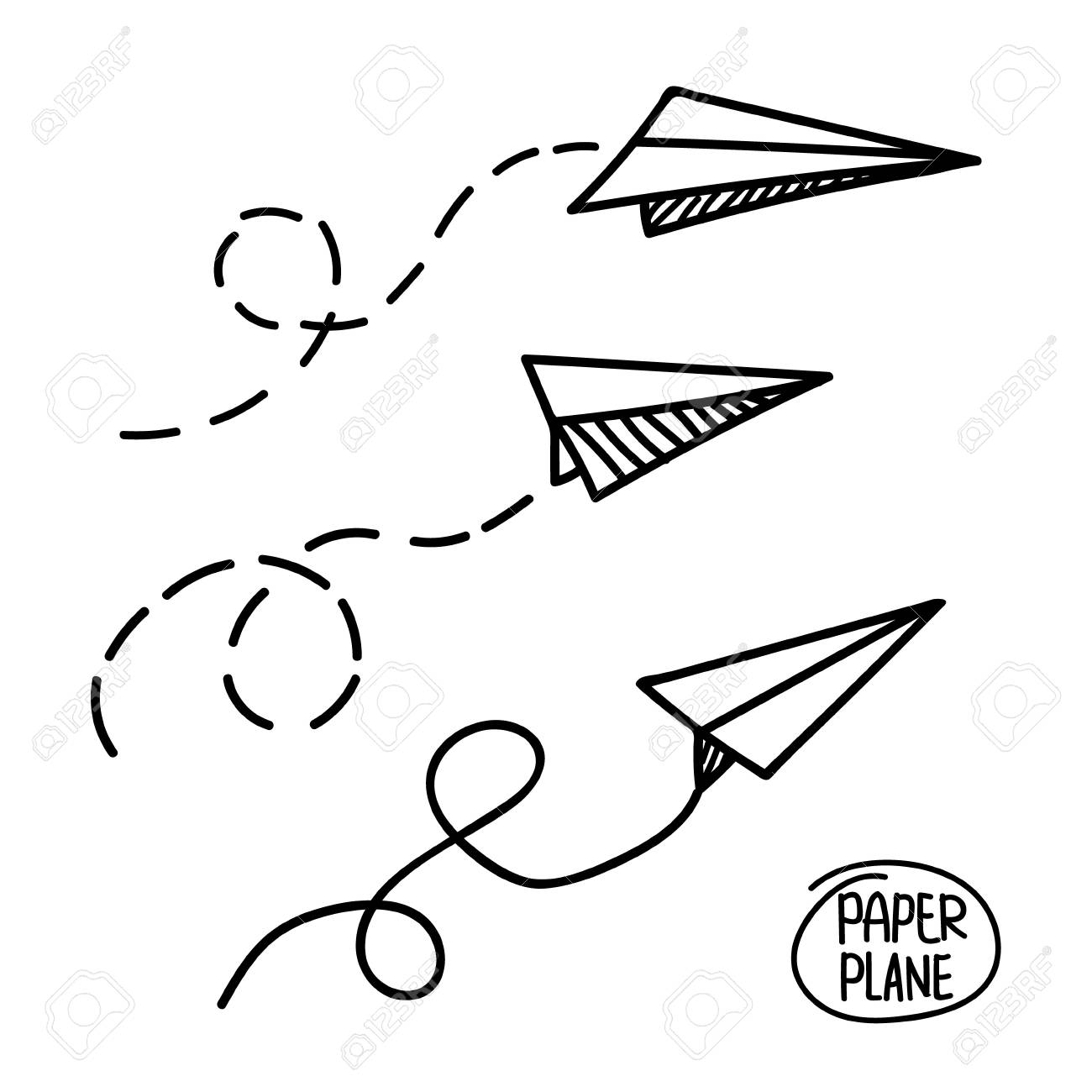 Vector Paper Airplane Travel Route Symbol Set Of