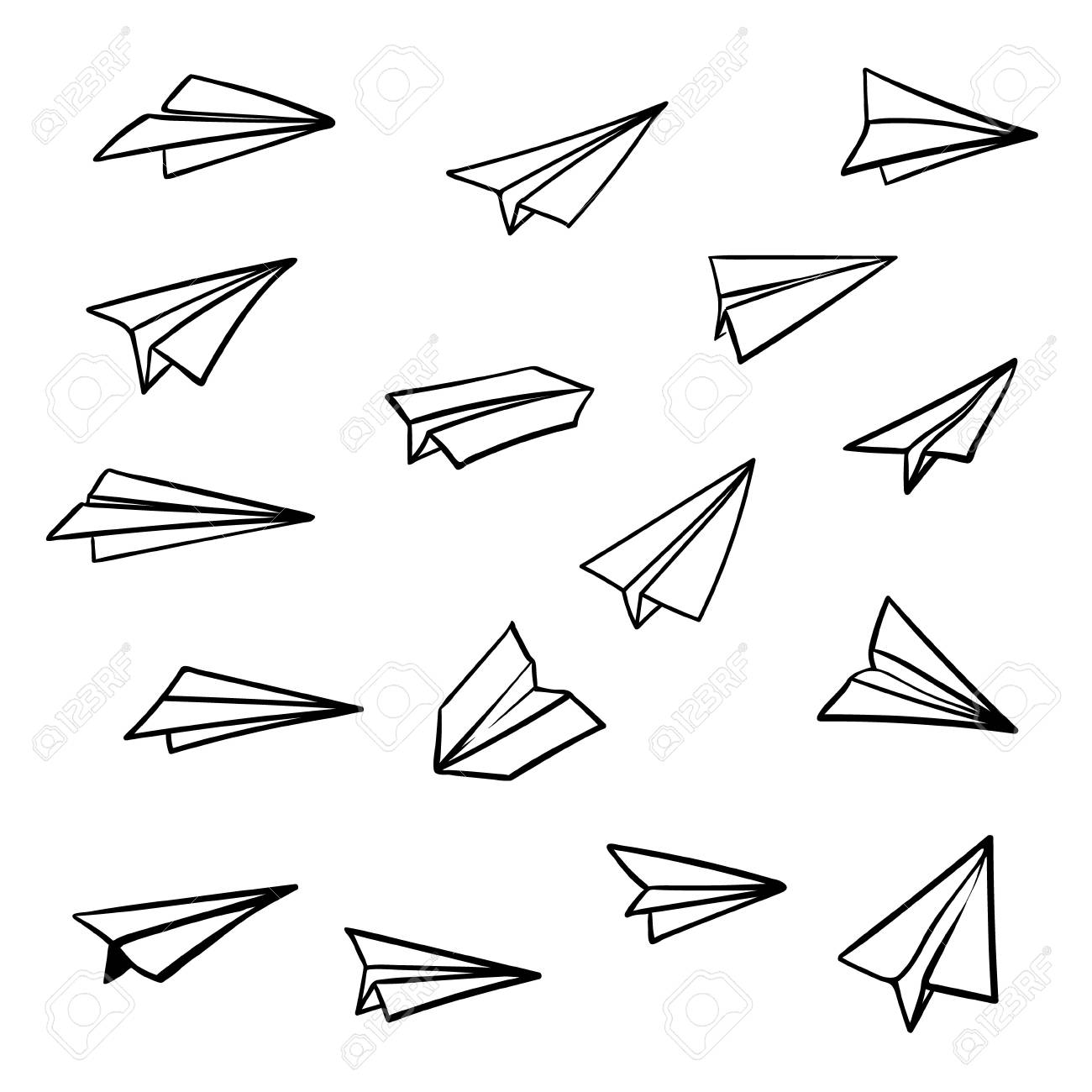 Vector Paper Airplane Travel Route Symbol Set Of Vector Illustration