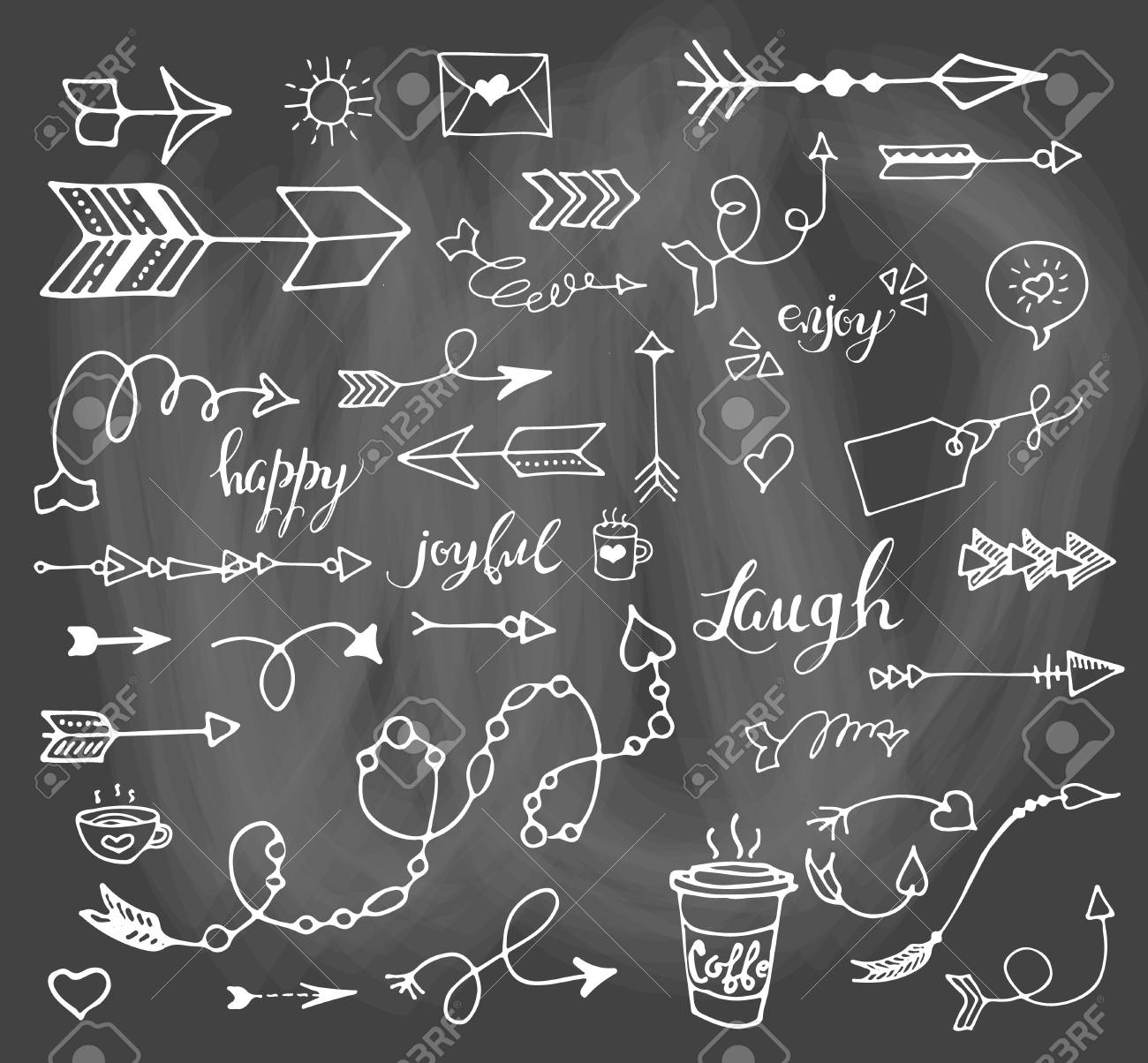 vector hand drawn set on grey chalk background of objects arrow
