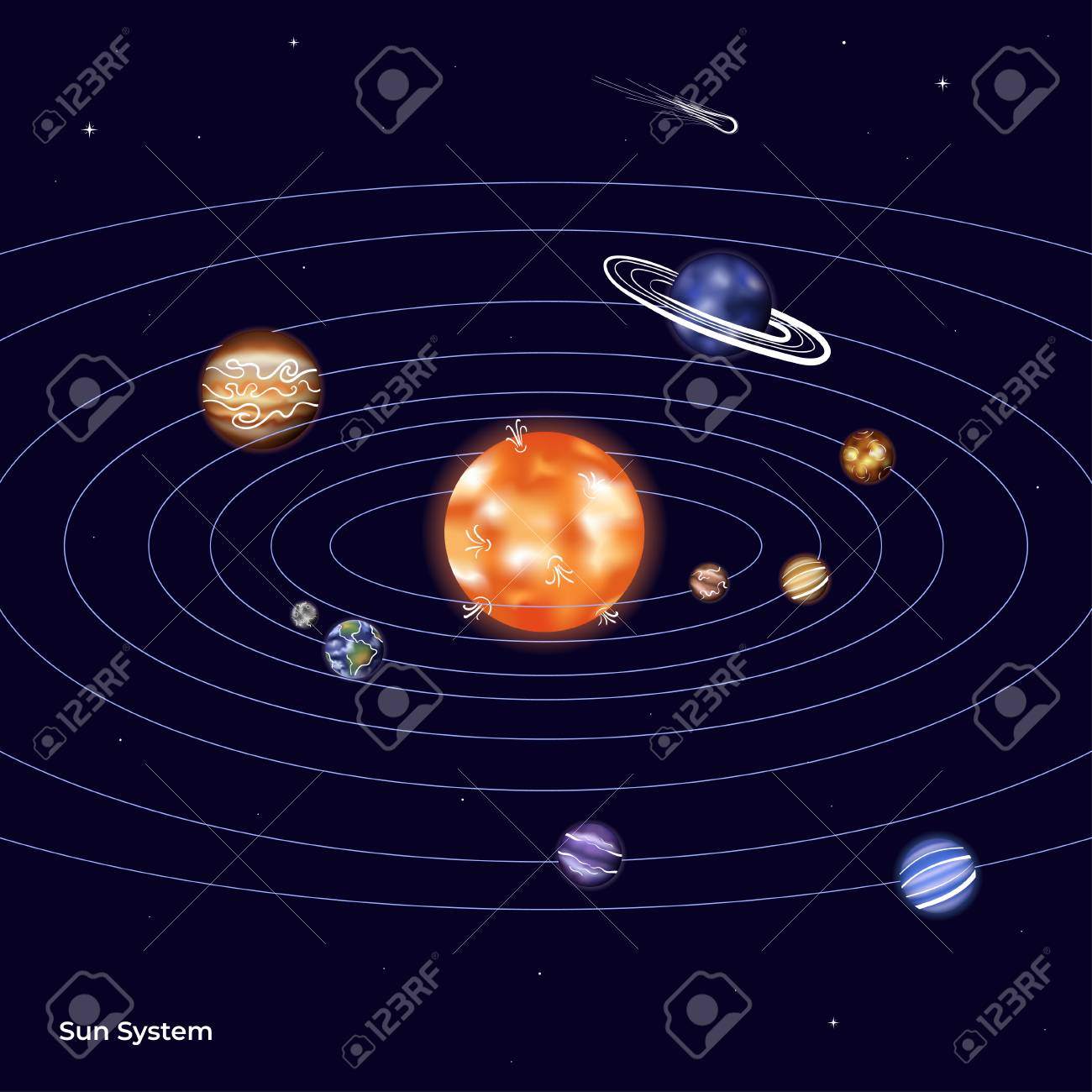 vector illustration of solar system with sun, mercury, venus, earth, moon,