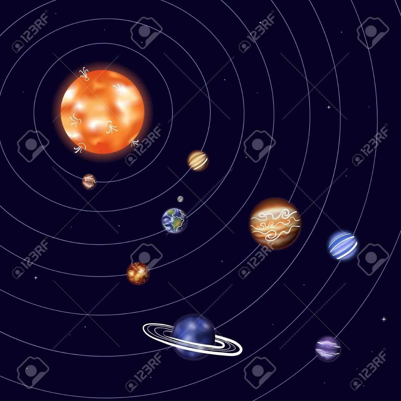 Vector illustration of solar system with Sun, Mercury, Venus,