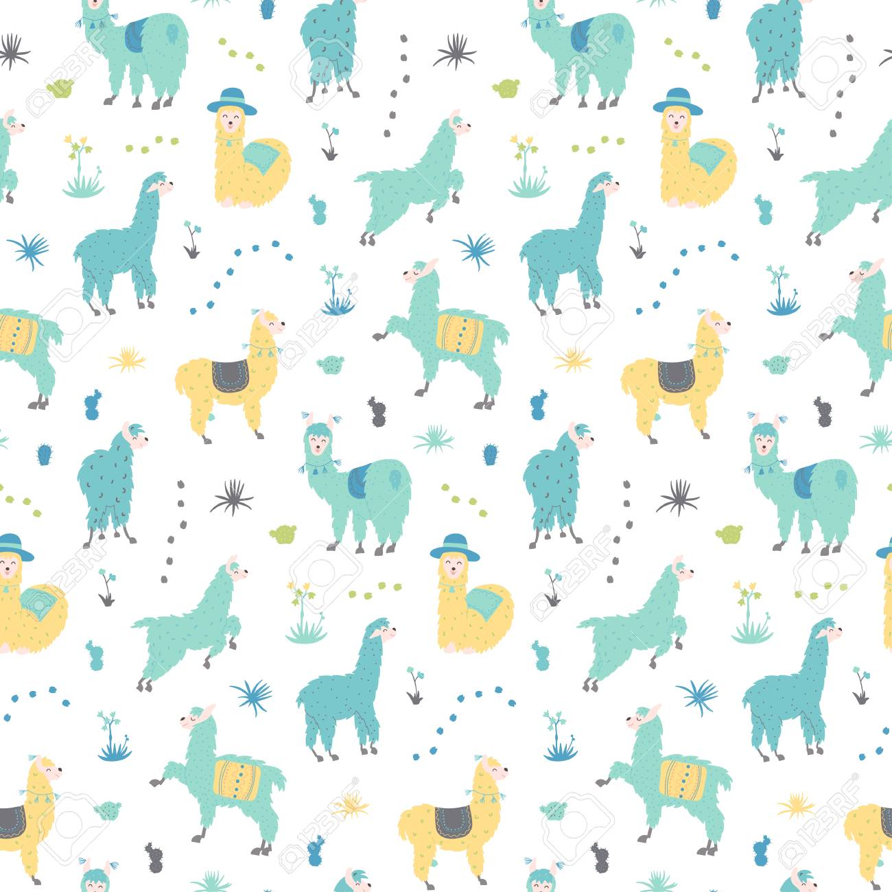 35f167a1c Vector Seamless Pattern With South America Cute Llama With ...
