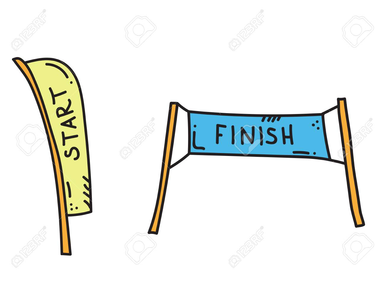 Vector Illustration Of Start And Finish Banners Sport Flag Start Royalty Free Cliparts Vectors And Stock Illustration Image 110860865