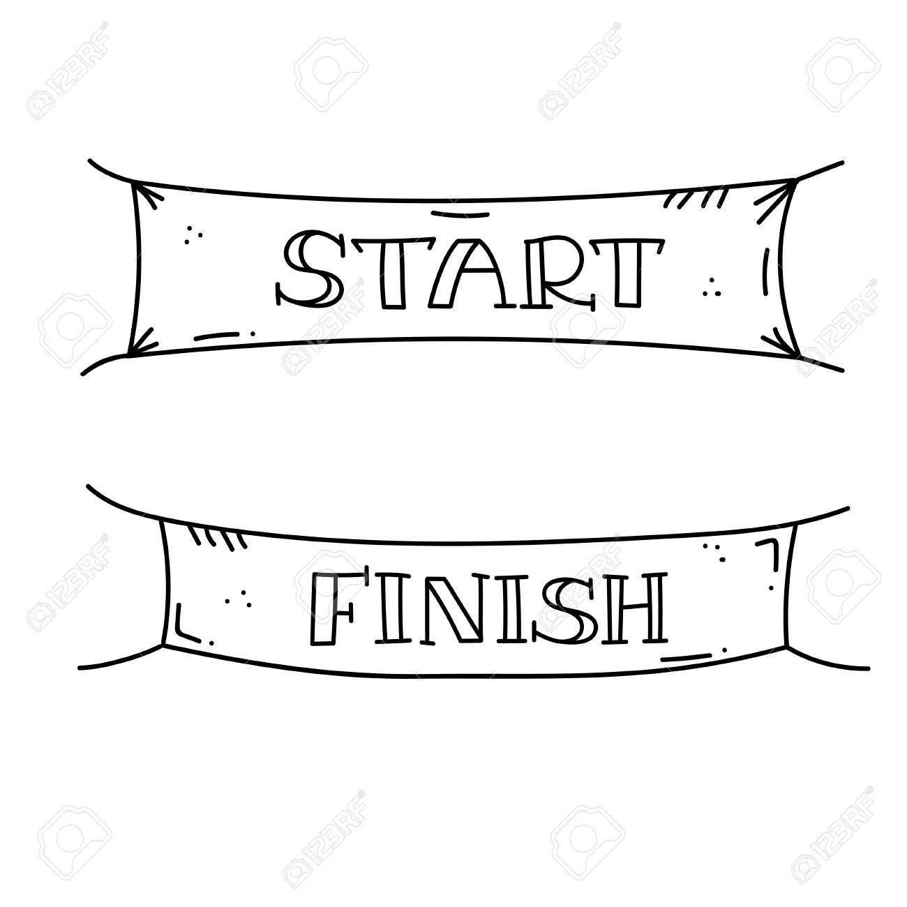 Vector illustration of start and finish line banners, streamers, flags for outdoor sport event - competition race, run marathon. Isolated doodle cartoon illustration. - 112870899