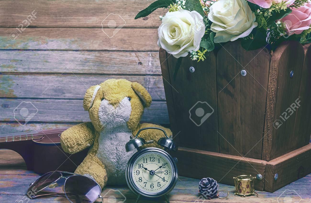Vintage Alarm Clock Time 10 10 Morning With A Teddy Bear On A