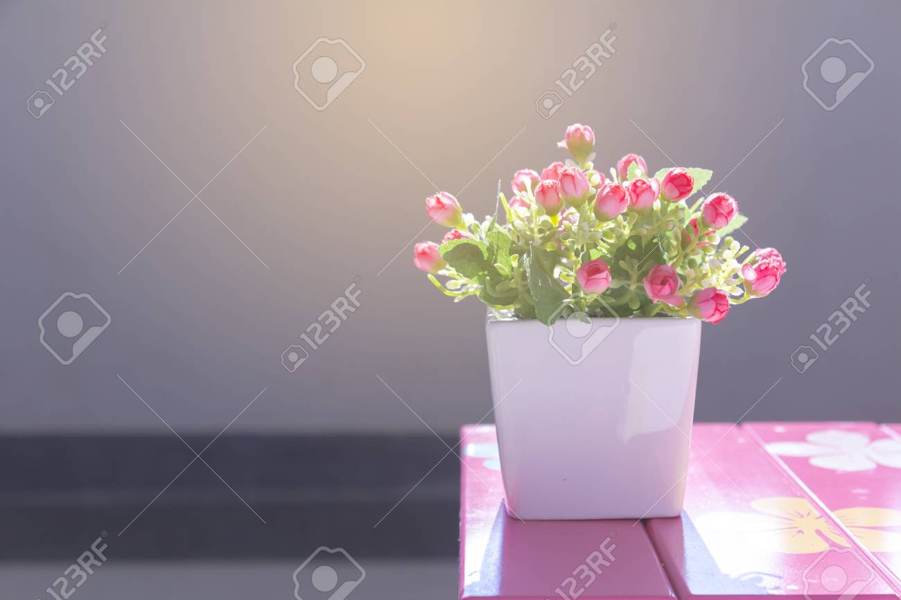 Good morning flowers in pots on a pink table